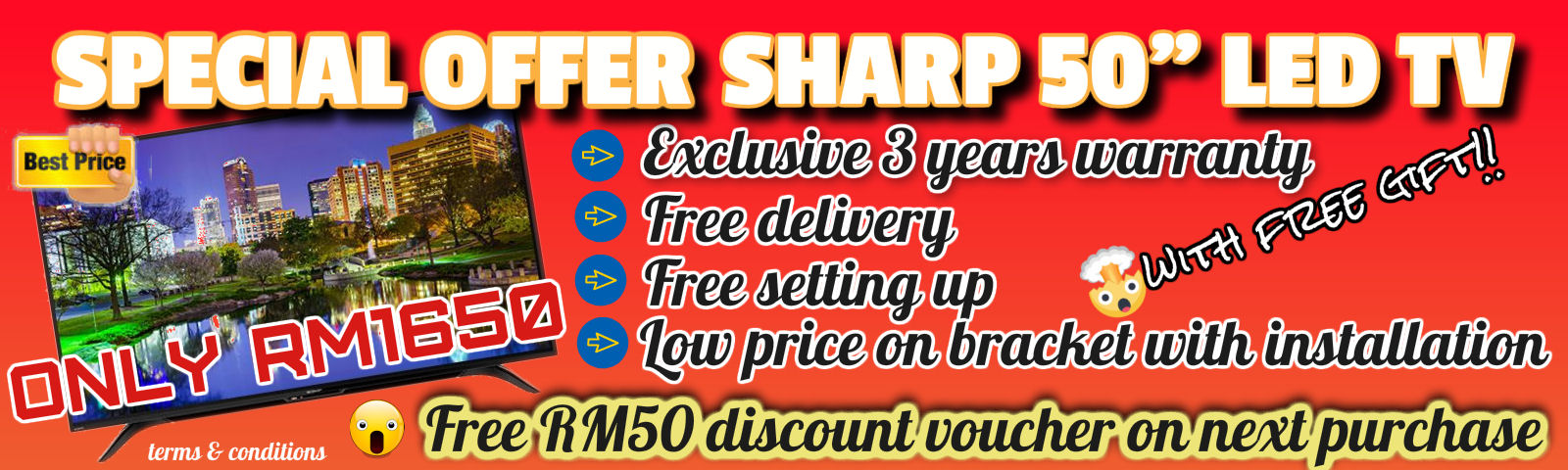 "Sharp 50"" LED TV on offer!!"