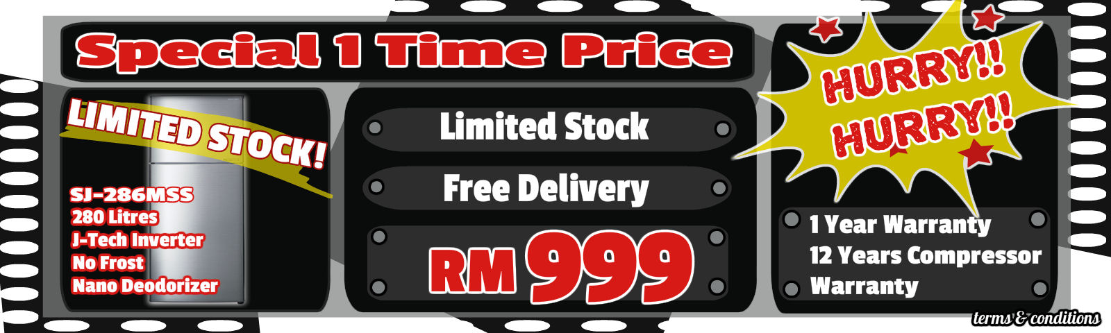 Sharp SJ-286mSS Promo For rm999..